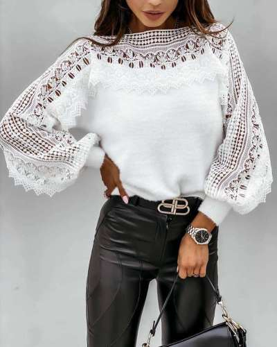 Casual Loose Pure Lace Hollow out Round neck Long sleeve T-Shirts