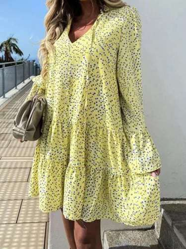 Casual Loose Gored Print V neck Long sleeve Shift Dresses