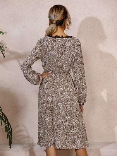 Fashion Leopard print Lace V neck Long sleeve Skater Dresses