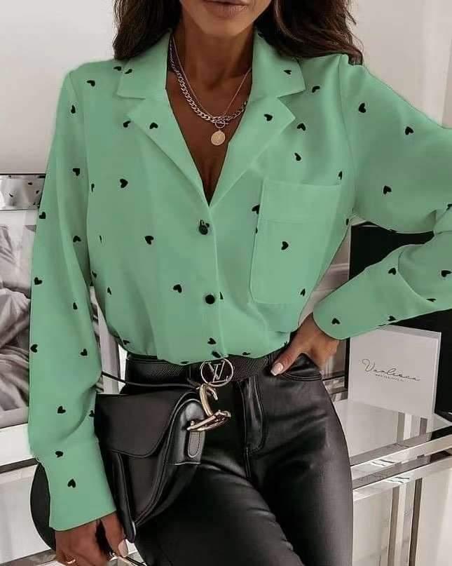 Fashion Heart print Lapel Long sleeve Blouses