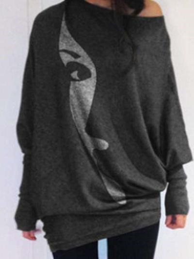 Casual Loose Abstract print Round neck Long sleeve T-Shirts