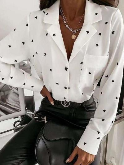 Fashion Heart print Lapel Long sleeve Blouses