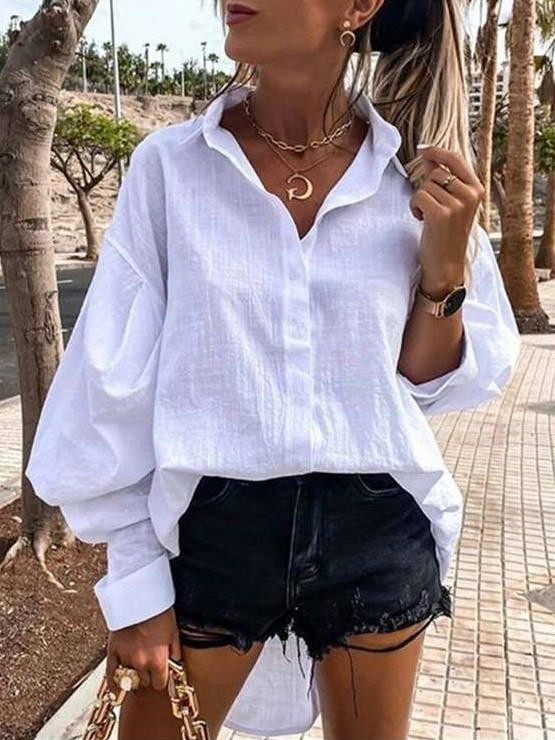 Pure Casual Loose Lapel Long sleeve Irregular Blouses