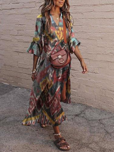 Fashion Casual Retro print V neck Mandarin sleeve Vent Maxi Dresses