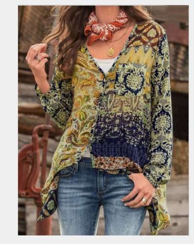 Casual Loose Retro print V neck Long sleeve Blouses