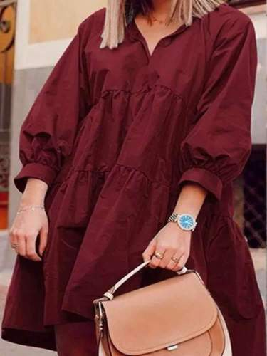 Casual Loose Pure V neck Puff sleeve Shift Dresses