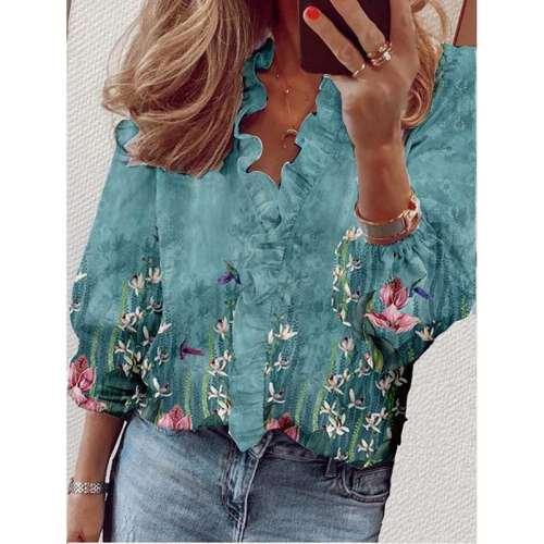 Stylish Floral print Stringy selvedge V neck Long sleeve Blouses