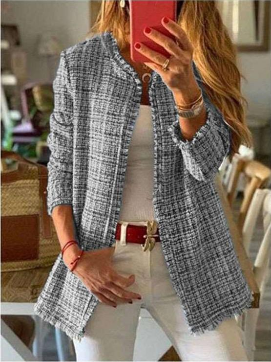 Fashion Wool Plaid Round neck Long sleeve Coats