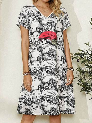 V neck fashion cat printed women shift dresses