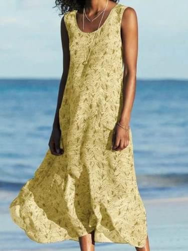 Summer Round Neck women Sleeveless floral maxi dresses
