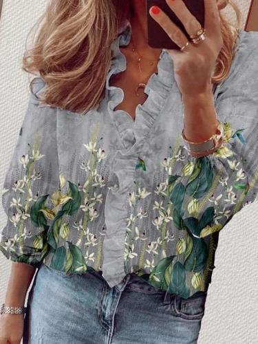 Stylish Floral print Stringy selvedge V neck Long sleeve Blouses