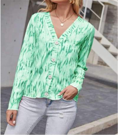 Casual Dipdye V neck Long sleeve Knit Fastener Sweaters