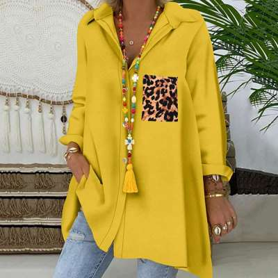 Casual Loose Lapel Gored Leopard print Pocket Long sleeve Blouses