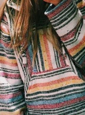 Casual Loose Stripe Long sleeve Hoodies Sweatshirts