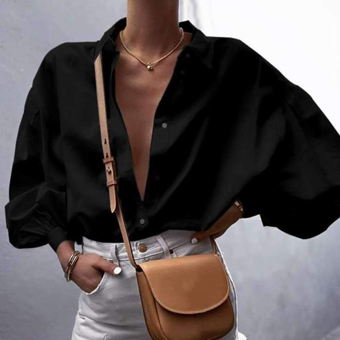 Women Casual Pure Lapel Puff sleeve Blouses