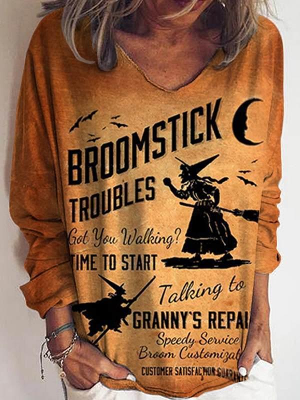 Women orange printed special v neck fashion casual T-shirts