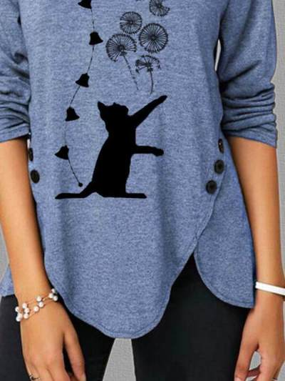 Spring cat squint print side button long sleeve casual ladies T-shirts