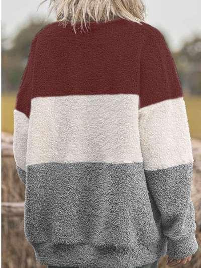 Plush Gored Round neck Long sleeve Sweatshirts