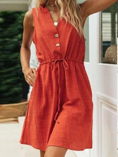 Pure Casual V neck Long sleeve Fastener Lacing Sleeveless Shift Dresses