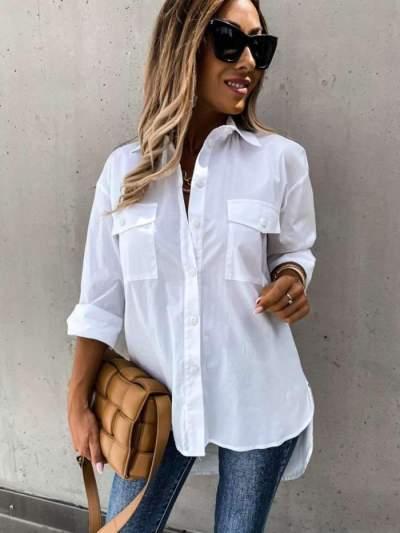 Casual Loose Pure Lapel Pocket Long sleeve Blouses