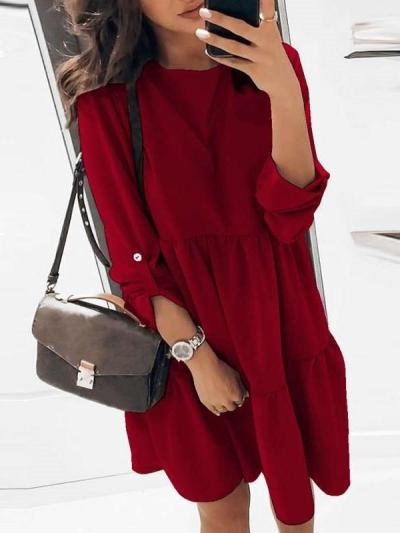 Pure Gored Round neck Long sleeve Shift Dresses