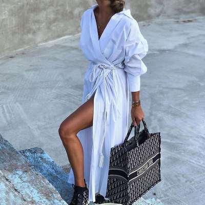 Fashion Pure Lapel Long sleeve Lacing Shirt Maxi Dresses