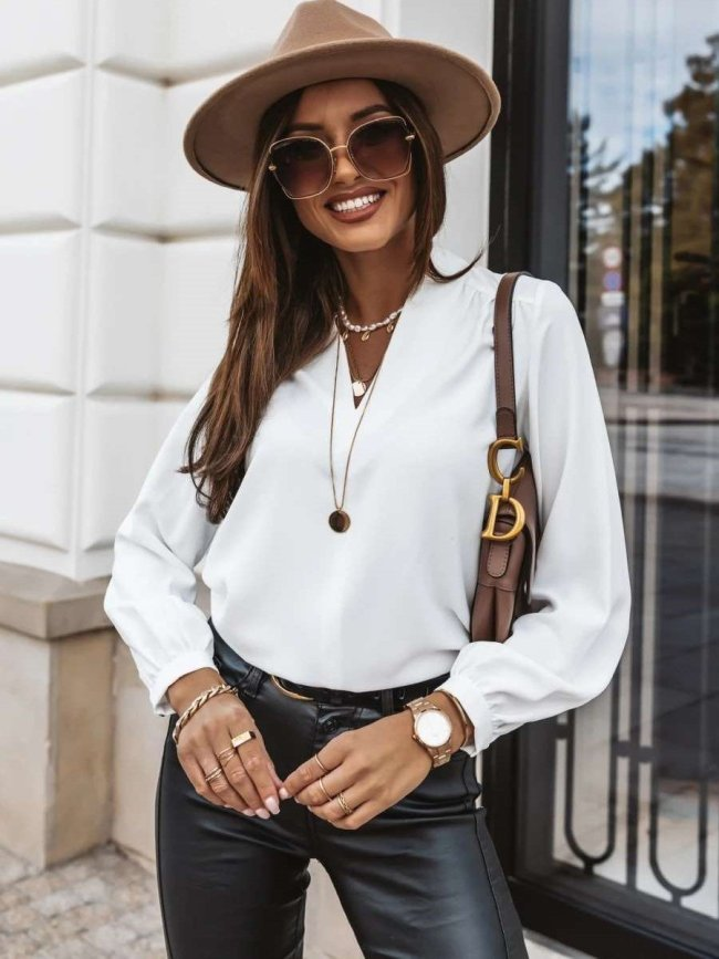 Casual Pure V neck Long sleeve Blouses