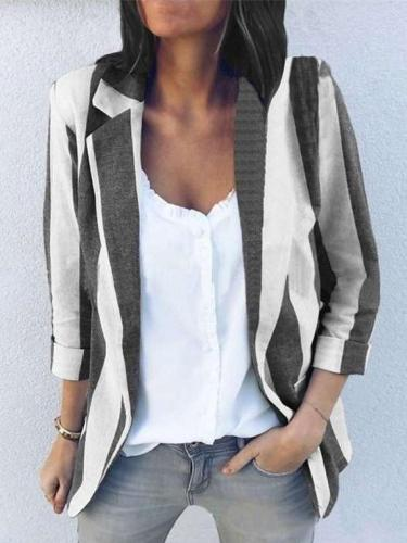 Fashion Casual Stripe Lapel Long sleeve Blazer