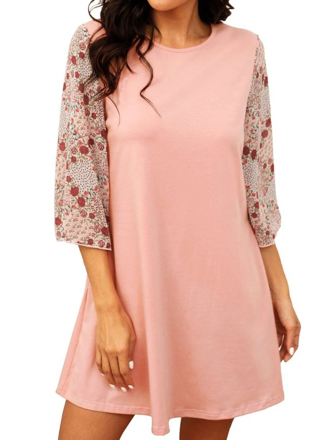 Casual Round neck Gored print Half sleeve Shift Dresses