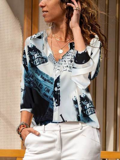 Spring paper printed button turn down neck women blouses