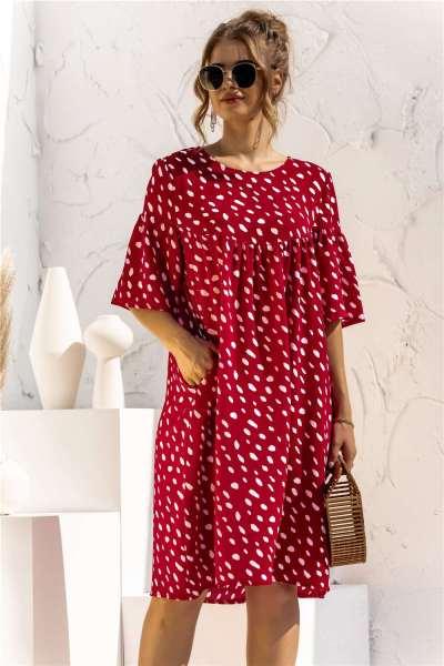 Fashion Point print Round neck Half sleeve Pocket Shift Dresses