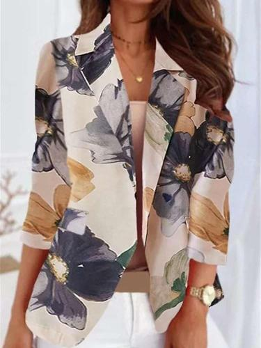 Casual Floral print Lapel Long sleeve Blazer