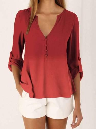 Fashion Gradient V neck Long sleeve T-Shirts