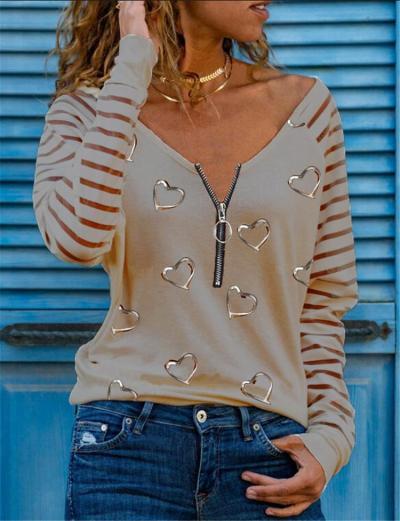 Fashion Heart print Zipper V neck Long sleeve T-Shirts