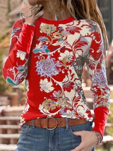 Fashion Ethnic style print Round neck Long sleeve T-Shirts