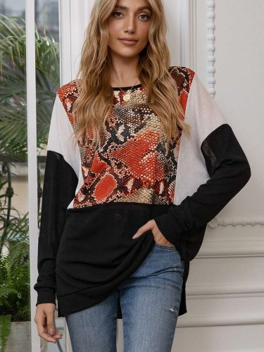 Casual Loose Gored Serpentine printing Round neck Long sleeve T-Shirts