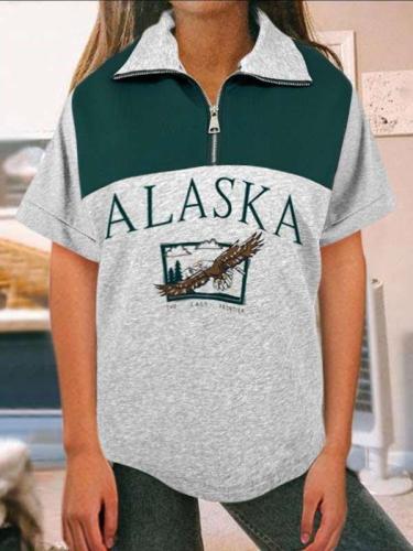 Casual Gored Word print Zipper Lapel Short sleeve T-Shirts