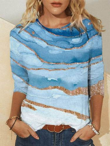 Artistic Abstract Blue Gradient Printed Shift Daily T-shirts for Women