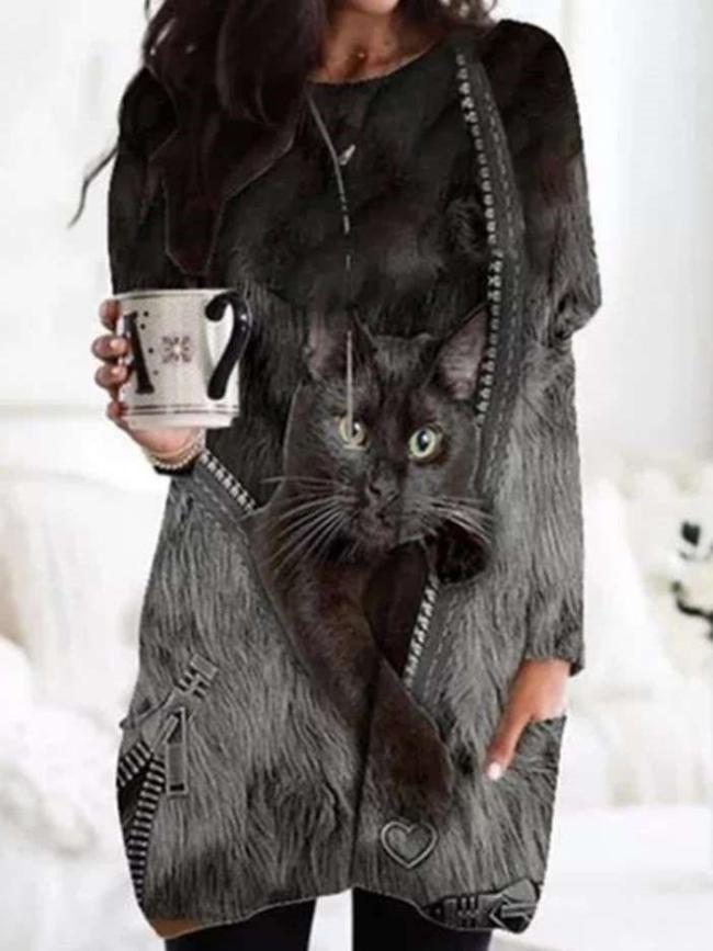 Women Casual Cat print Round neck Long sleeve Plus T-Shirts