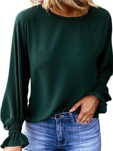 Casual Pure Round neck Puff sleeve T-Shirts