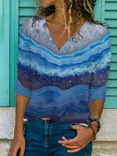 Landscape gradient print ladies long-sleeved slim T-shirt tops