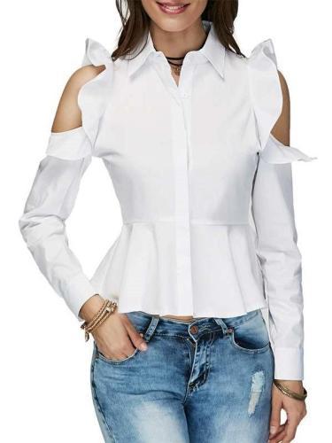 Stylish Pure Falbala Off shoulder Falbala Lapel Long sleeve Blouses