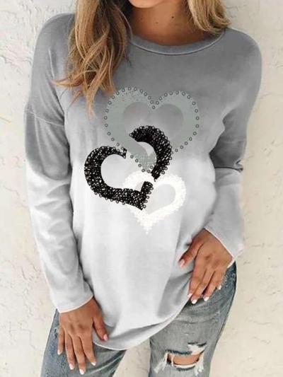 Fashion Gradient Heart print Round neck Long sleeve T-Shirts
