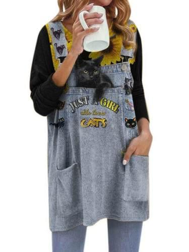 Pocket v neck women cat printed long sleeve cute T-shirts