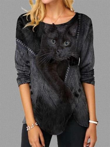 Stylish Cat print Round neck Long sleeve Irregular T-Shirts