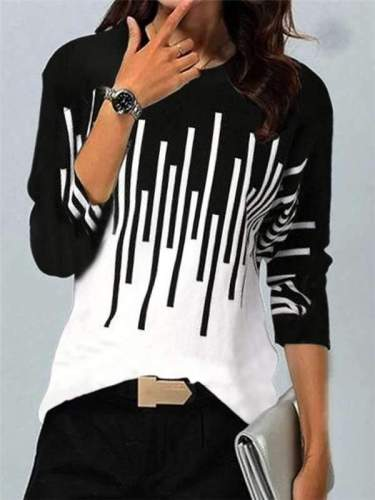 Fashion Stripe print Round neck Long sleeve T-Shirts