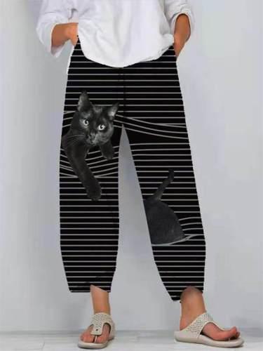 Women cat print stripe casual fashion street style long pants