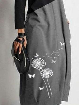 Casual Gored Dandelion print V neck Long sleeve Maxi Dresses