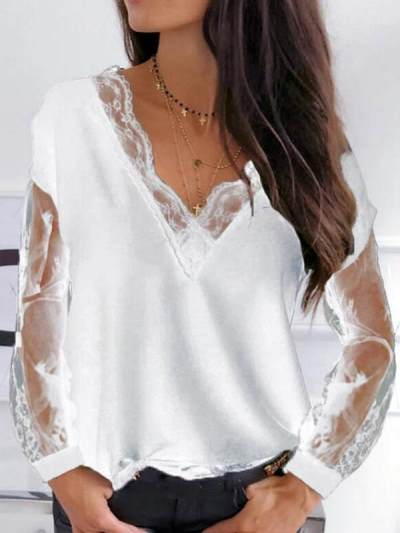 Sexy v neck lace women long sleeve slim blouses