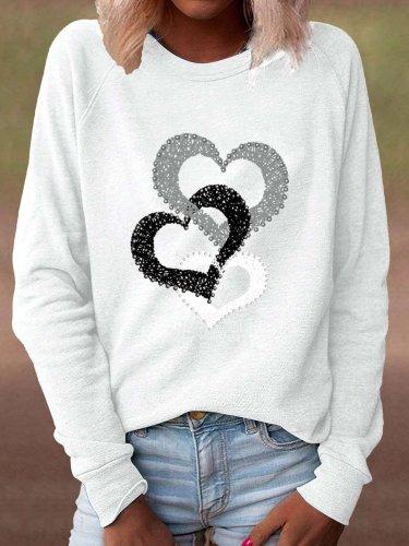 Casual Loose Heart print Round neck Long sleeve T shirt Sweatshirts